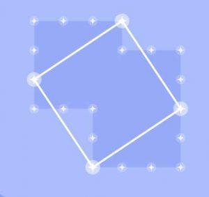 Вписанный квадрат. Нарисуй квадрат. Для этого нажимай на звезды, которые будут вершинами этого квадрата